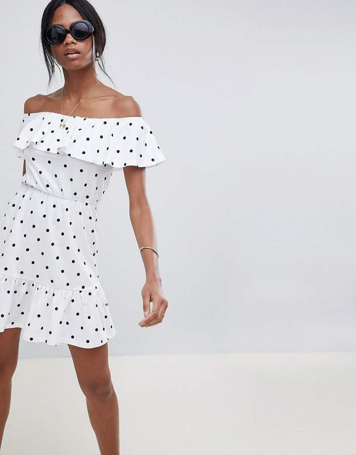 dab17509f5d ASOS DESIGN off shoulder sundress with tiered skirt in polka dot ...