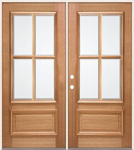 4 lite unfinished mahogany double french doors great for for Full glass french doors