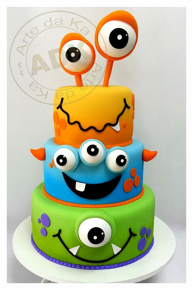 """Birthday Party Theme: Monsters - Monster Cake *this has been my favorite cake so far.. simple, different and very boyish"""""""