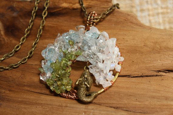 Wave Necklace Wire Wrapped Pendant Necklace by SeaFeatherTreasures
