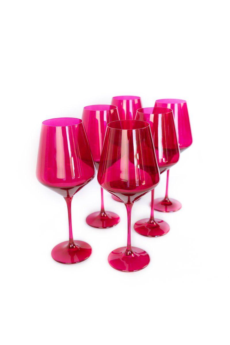 Estelle Colored Wine Stemware Set Of 6 Fuchsia In 2020 Stemware Acrylic Wine Glasses Hand Blown