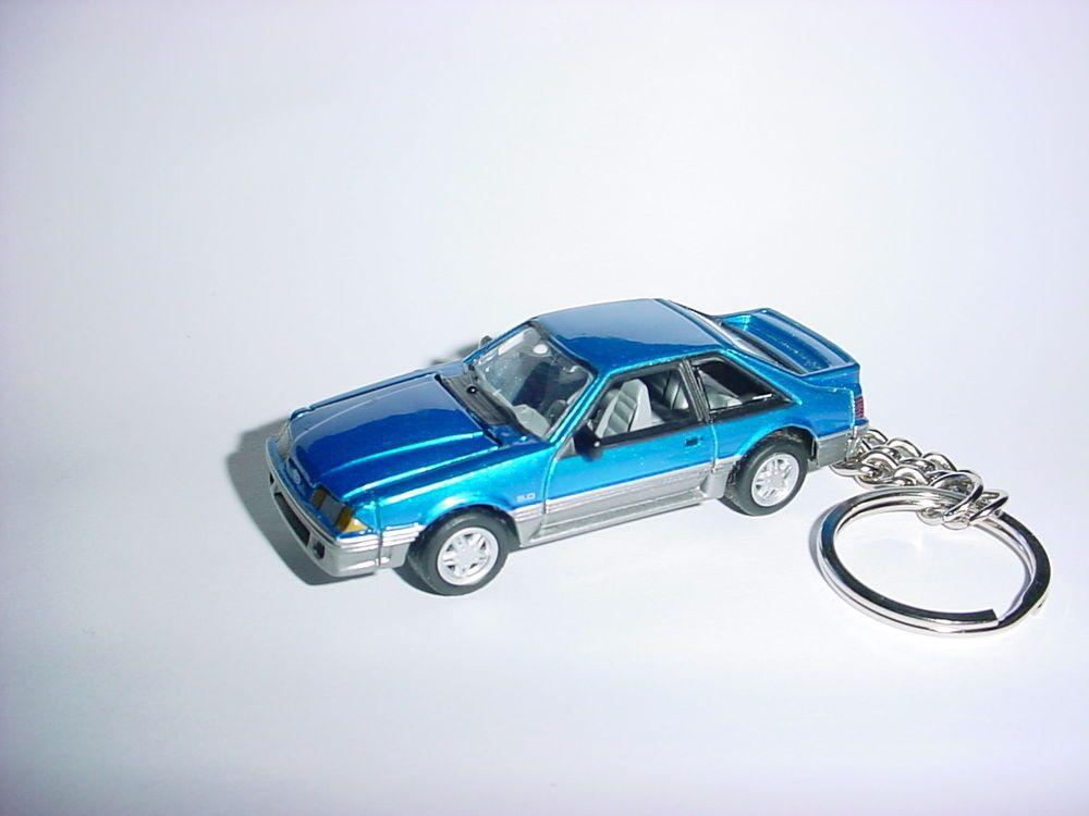 New 3d Blue Ford Mustang Gt Custom Keychain Keyring Key Gt Finish