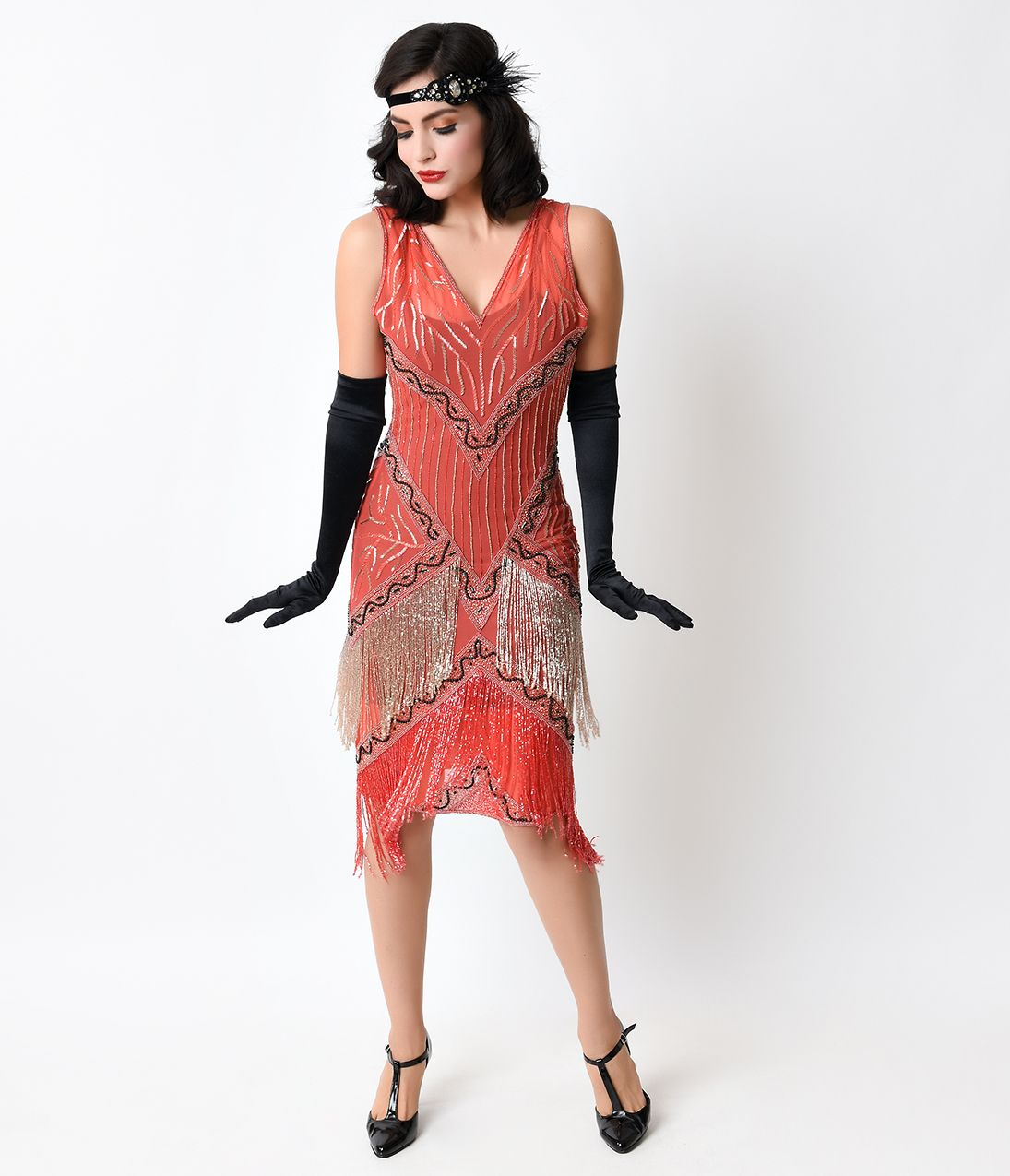1920s Evening Dresses Formal Gowns Flapper Style Dresses Beaded Fringe Dress Red Flapper Dress [ 1275 x 1095 Pixel ]