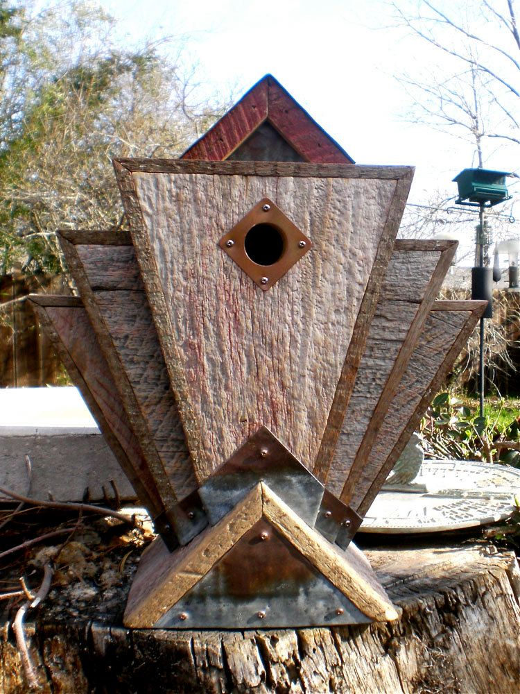 Art Deco Birdhouse Made from Vintage Barn Wood by Roundhouseworks, $170.00
