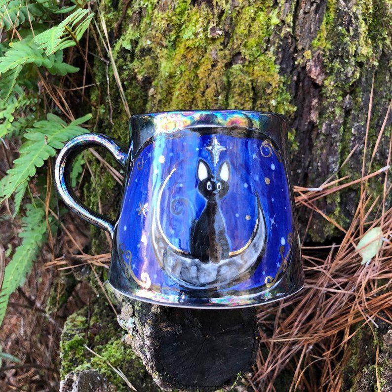 Jiji mug 14 oz hand painted mug black cat anime pottery