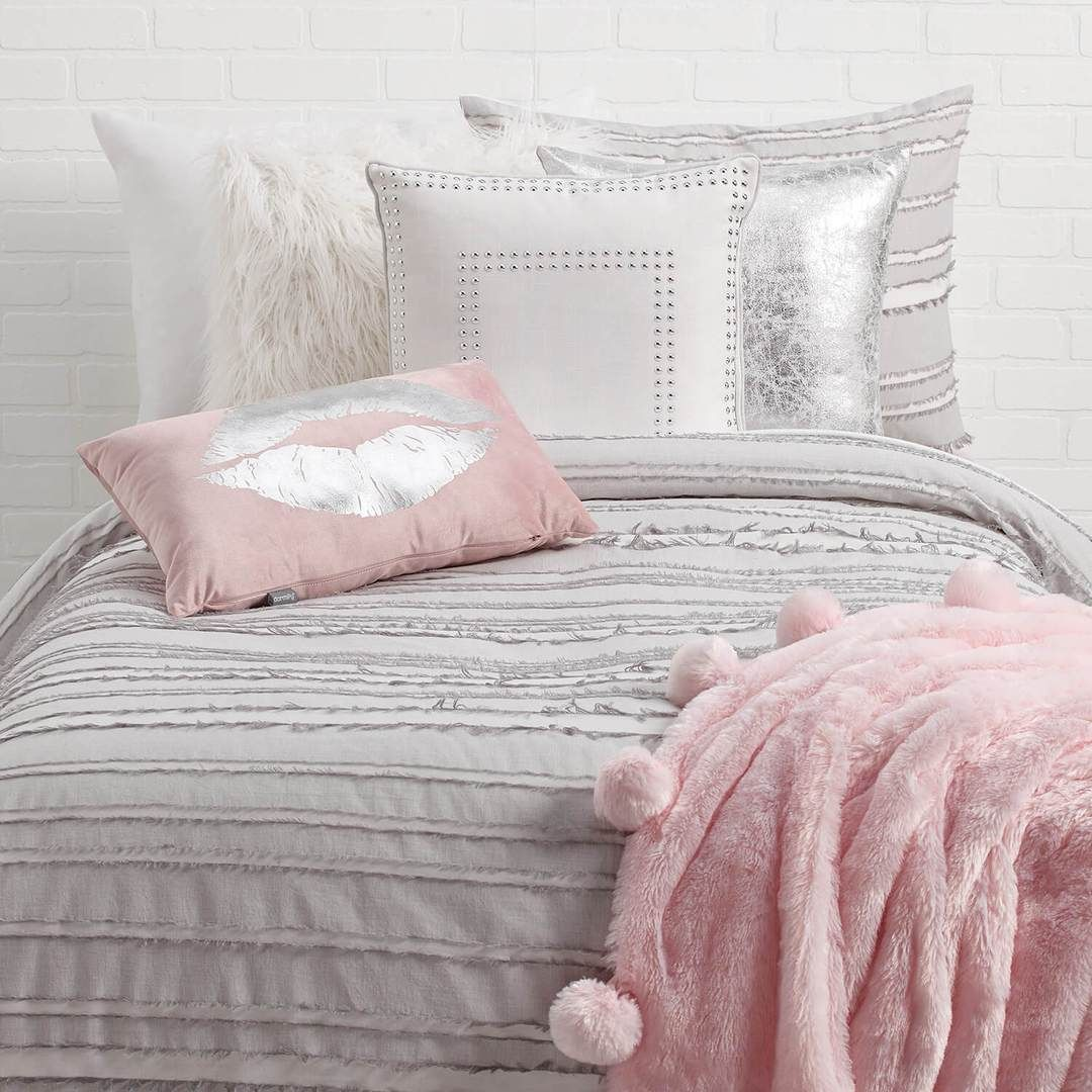 Grey Eyelash Stripe Comforter and Sham Set in 2019 Pink