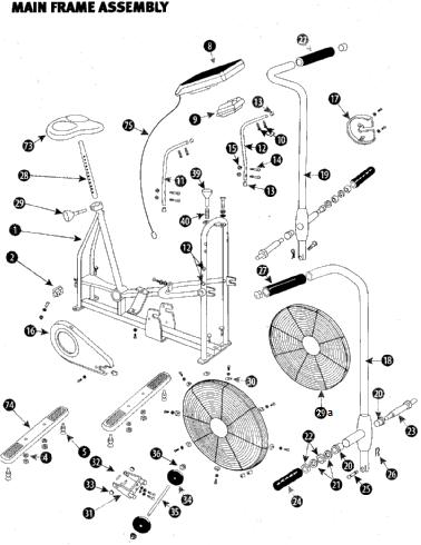 2d548c9d71e465aa2cdd9f66c77bbc5f airdyne main frame parts schwinn airdyne exercise bike, airdyne