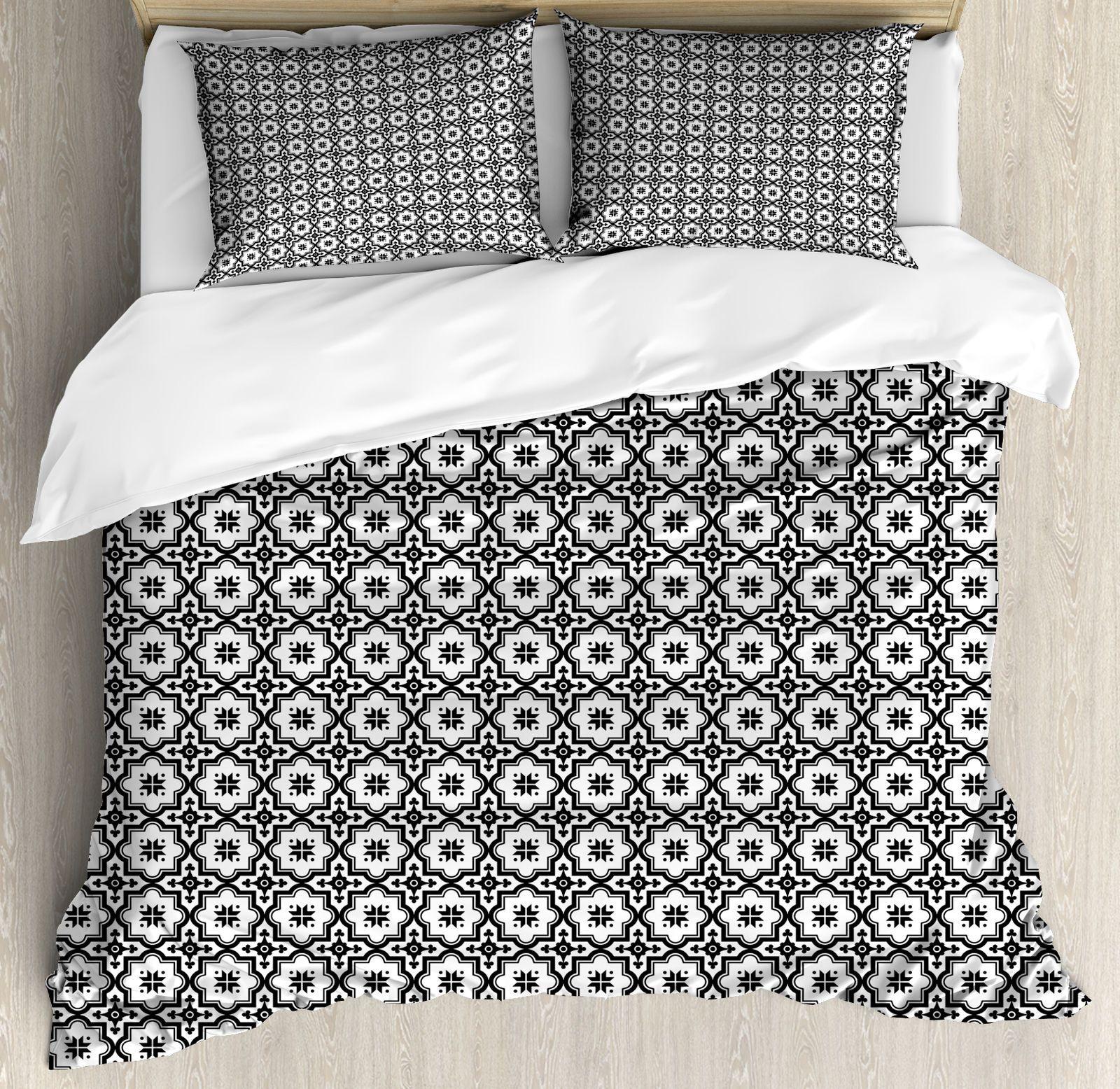 Moroccan Queen Size Duvet Cover Set Monochrome Tile Design With 2 Pillow Shams Ebay Duvet Cover Sets Queen Size Duvet Covers Tile Design