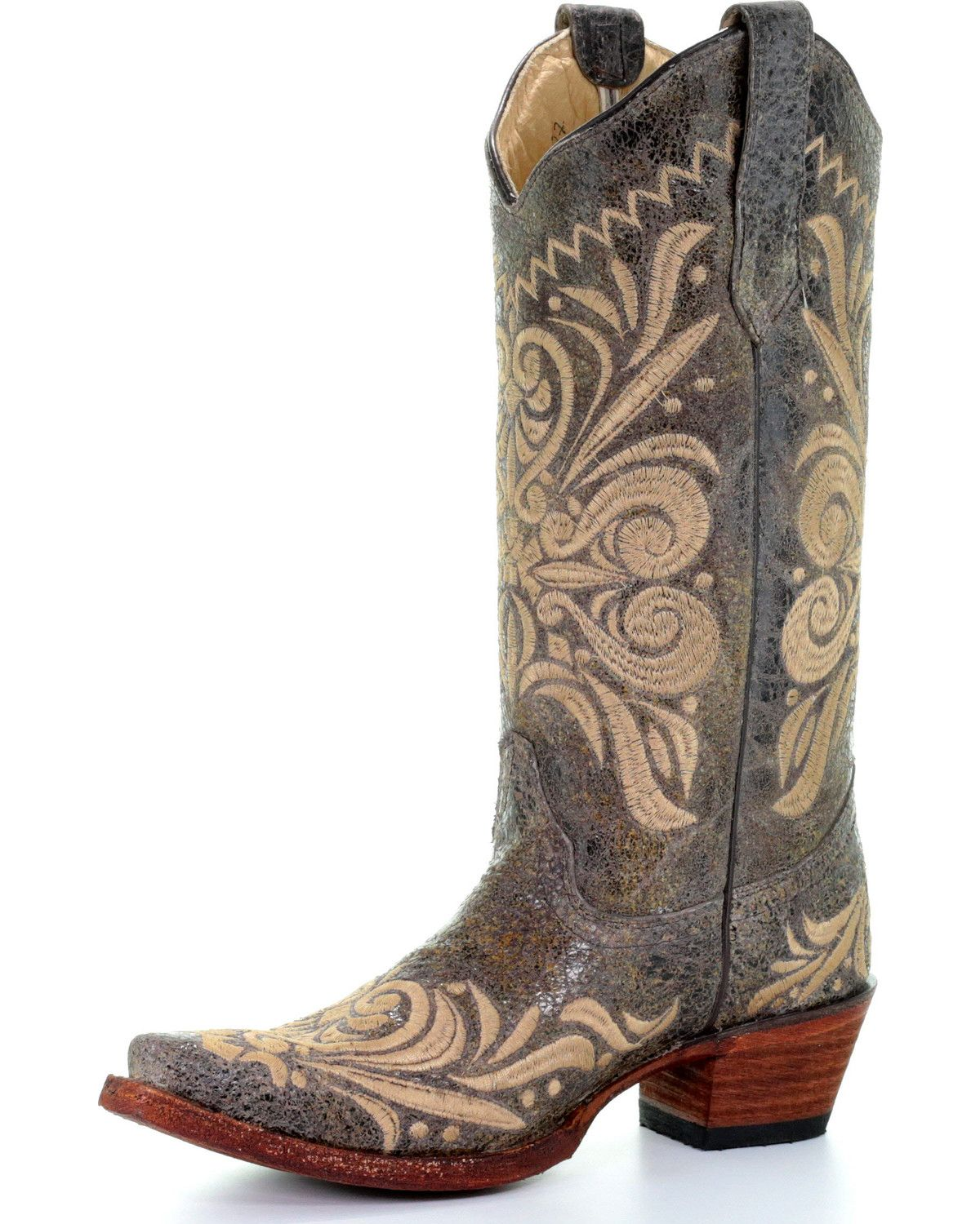 de1bd74a36b Circle G Women's Distressed Filigree Embroidered Cowgirl Boots ...