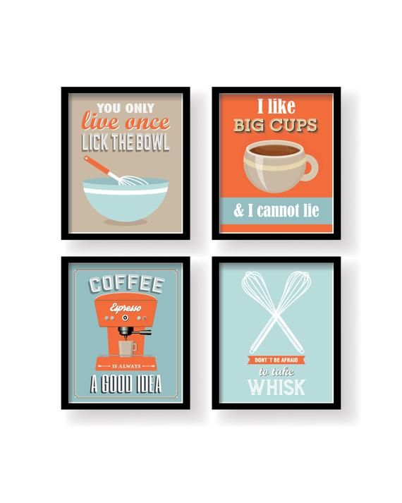Orange Blue Kitchen Decor Kitchen Wall Art Kitchen Prints Set Of 4