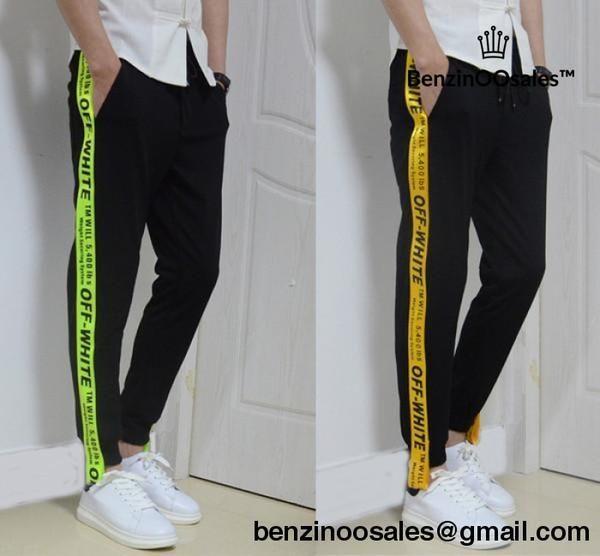 8b216d7f5610 Off-white yellow tape sweatpants -yeezy boostv2-ua-hypebeast-designer  replicas clothing