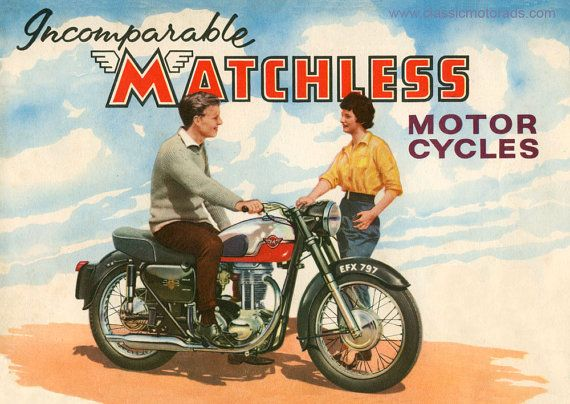 Matchless G3 mounted print, Classic motorcycle art