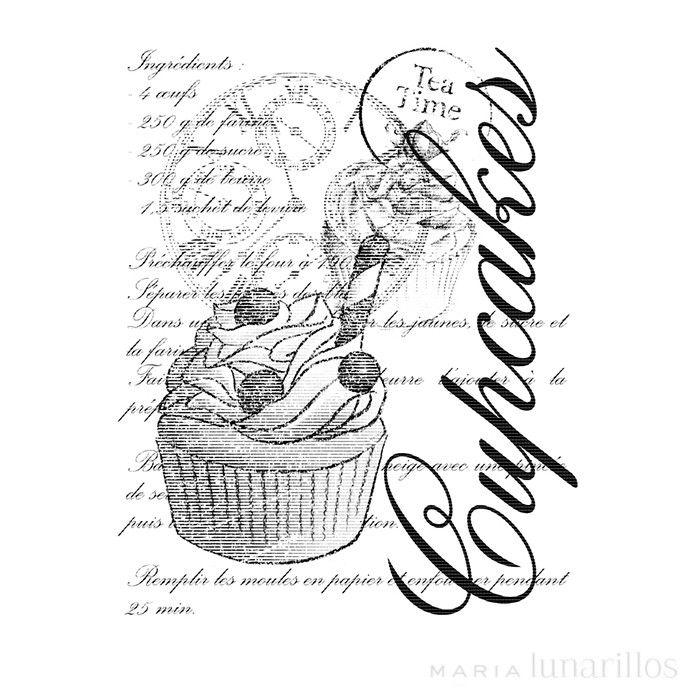 Sello de madera Ingredientes Cupcake - Artemio - María Lunarillos