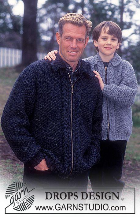 Chaqueta con cremallera DROPS en Alaska   Patrones para suéter ...