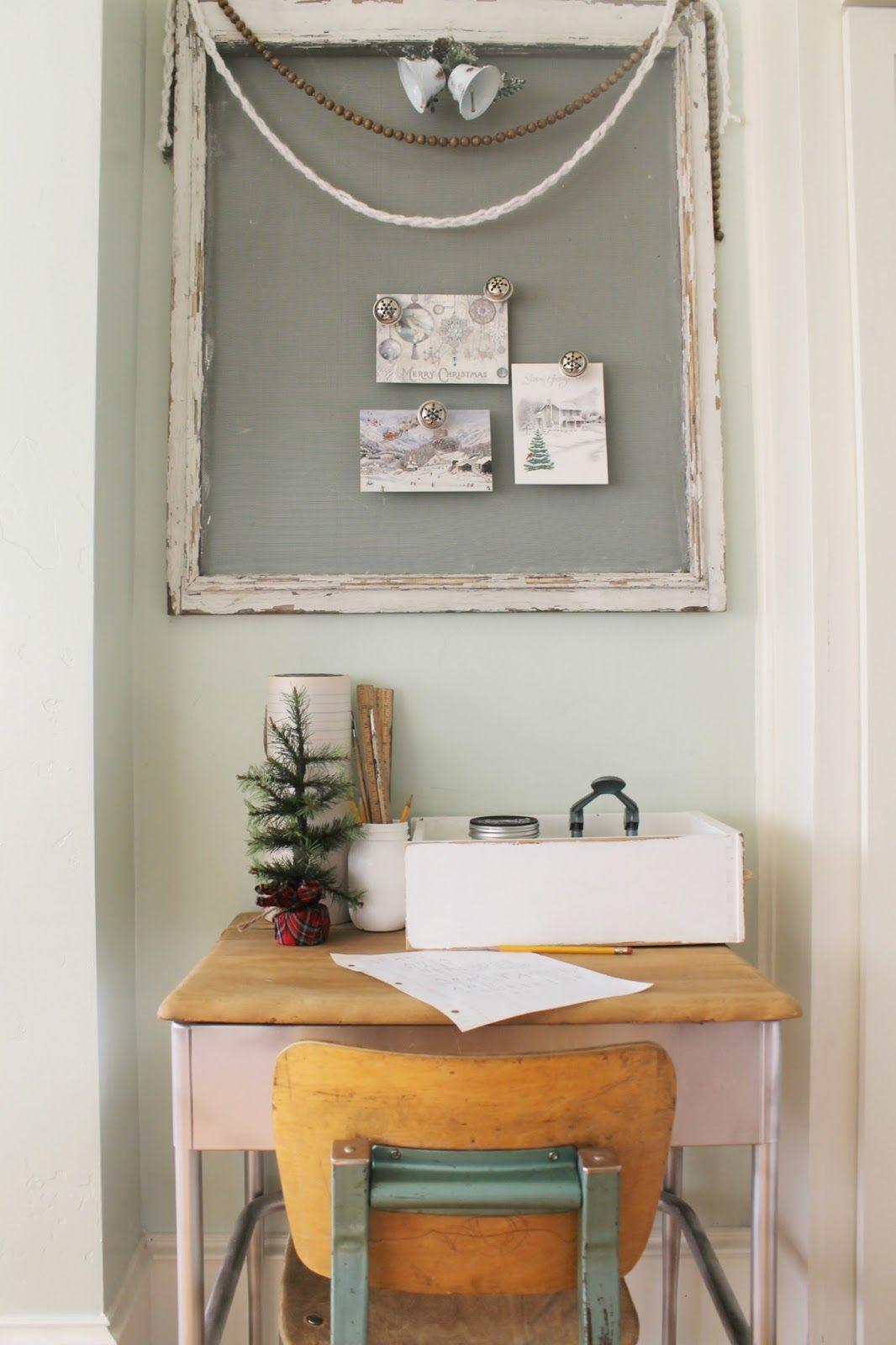 Hang Christmas cards onto to an old window screen, using diy jingle ...