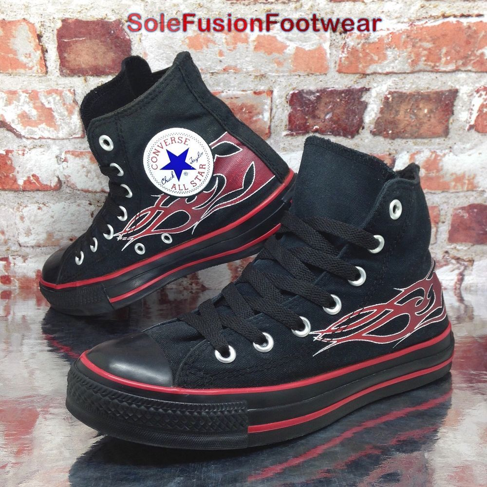 Converse Womens All Star Flame Trainers Black Red sz 5 VTG Sneakers US 7 EU  37.5  1b515bc761