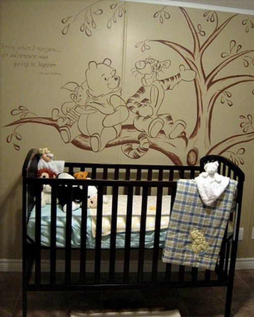 Vintage Winnie the Pooh Wall Murals | ... Room Kids Bedroom Wall Decals  Adorable
