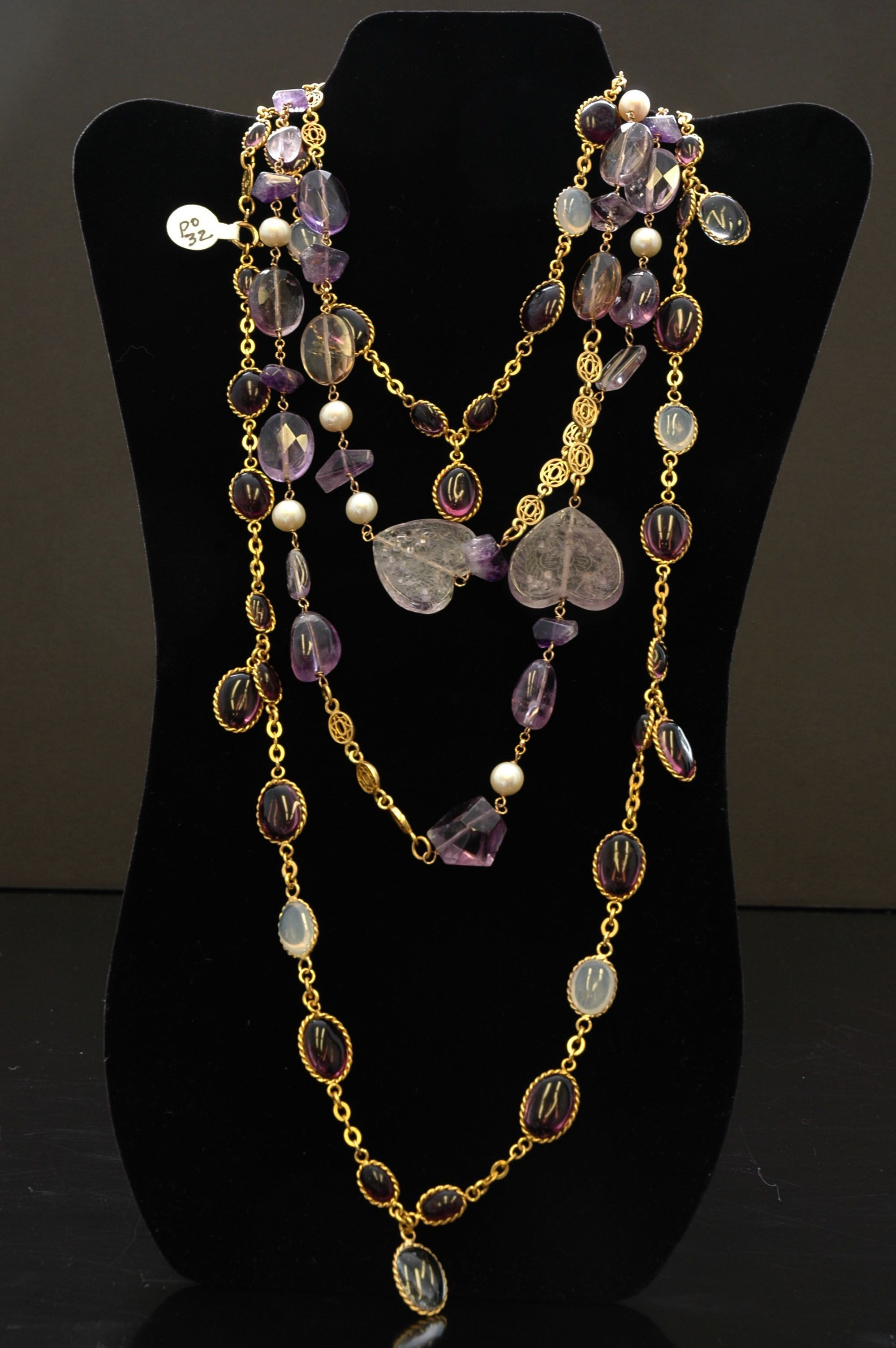 49d16b14028 Vintage Chanel Necklace with Pearls and Lilac Gripoix Disks