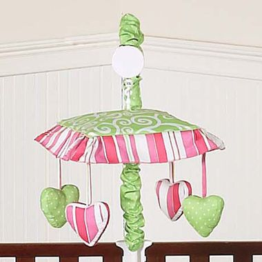 Olivia Pink & Green  #CribMobile Matches the collection by #SweetJoJoDesigns - Usually ships in 2 Days and #FreeShipping Great #babyshower gift. Add to your #BabyRegistry.
