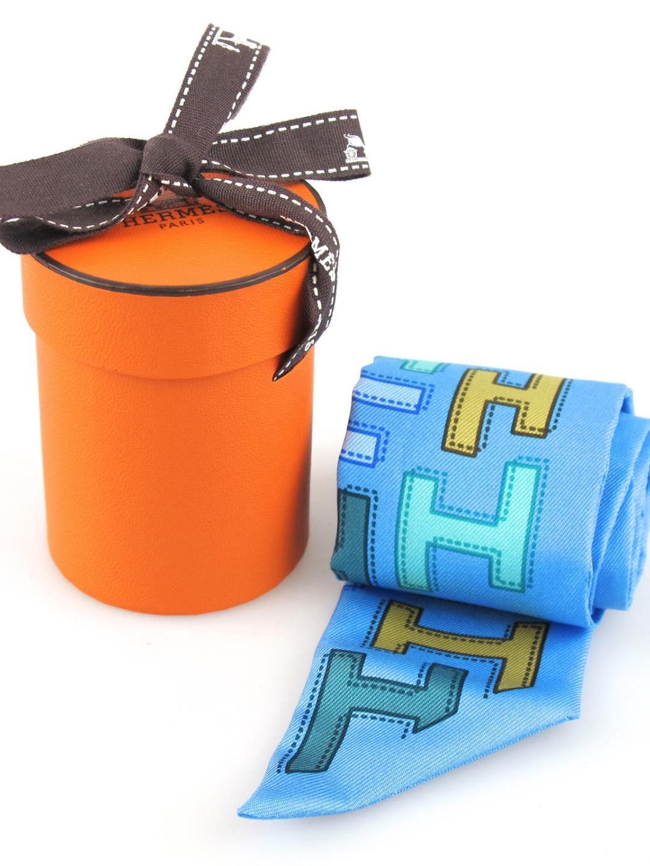 2baa7c9ec648 Hermes Twilly Blue H Print Silk with Original Orange Box Cachemire, Foulard,  Toujours,