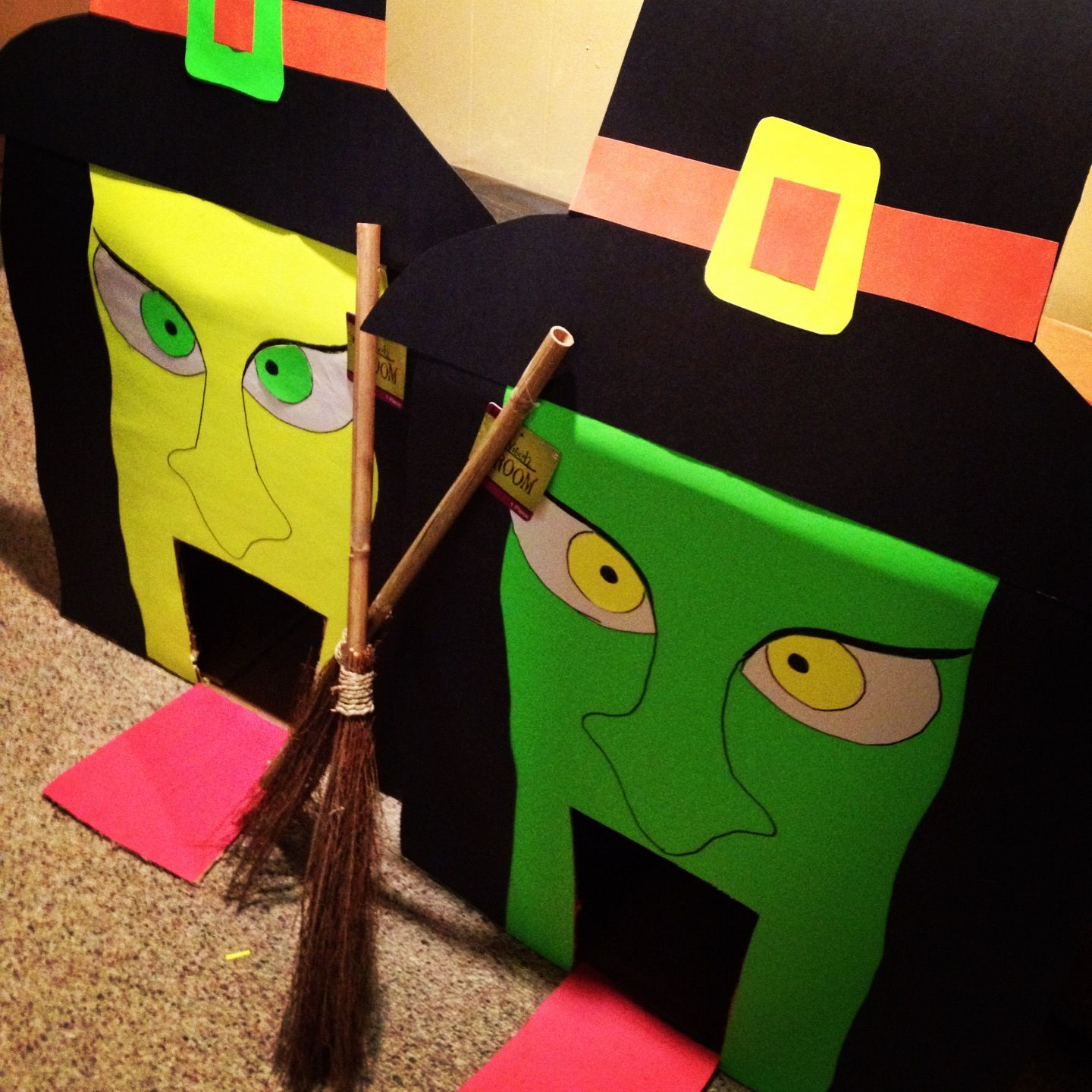 witch golfing halloween party kids game idea 2 on the side ramp