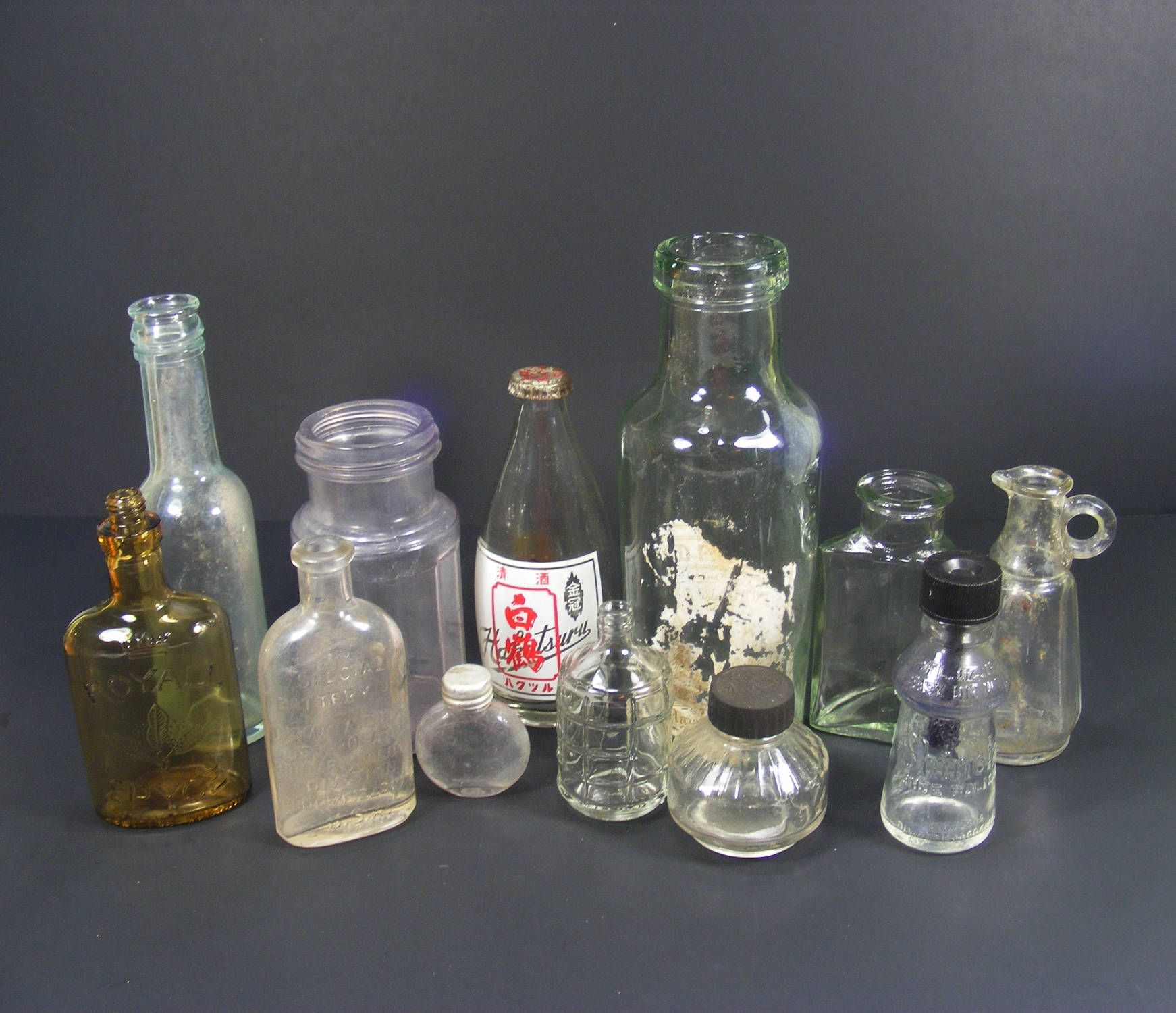 Old Glass Bottle Collection Of 12 Vintage And Antique Glass