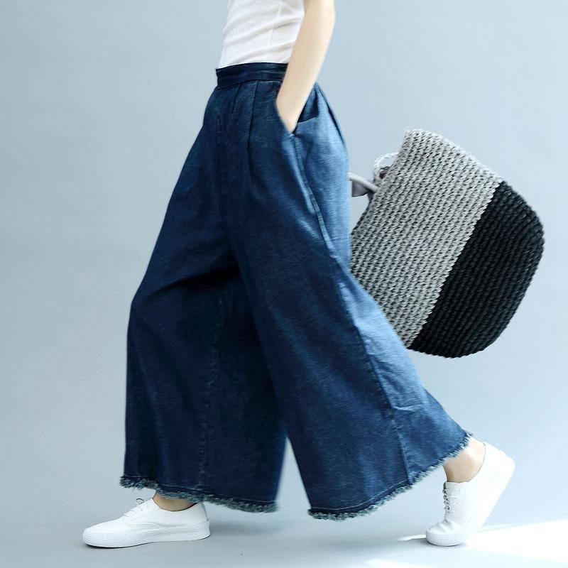b3b8221cc8d Summer Thin Wide Leg Denim Pants Women Cowboy Trousers K2854 in 2018 ...