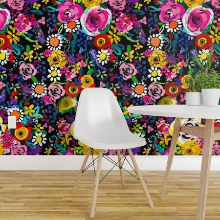 Peel And Stick Removable Wallpaper Colorful Floral Bright Flower Nursery Decor Walmart Com Bright Flower Nursery Flower Nursery Decor Removable Wallpaper