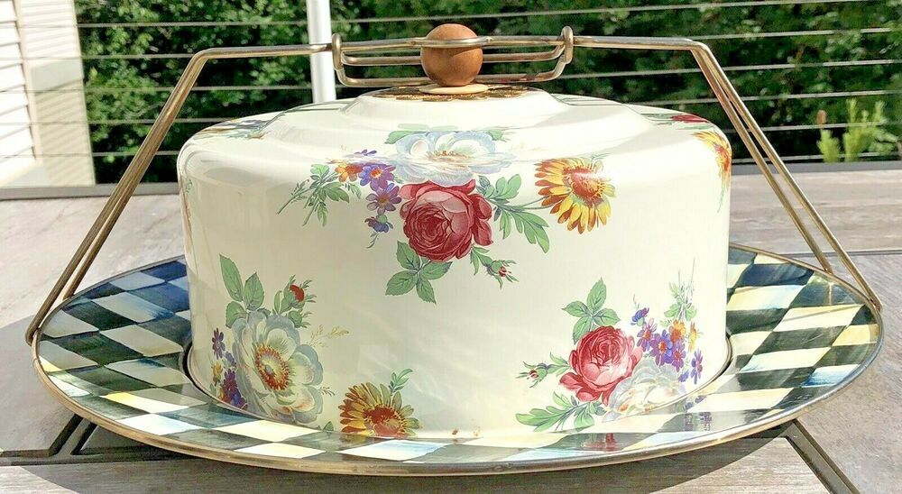 Mackenzie childs check and floral enamel cake carrier