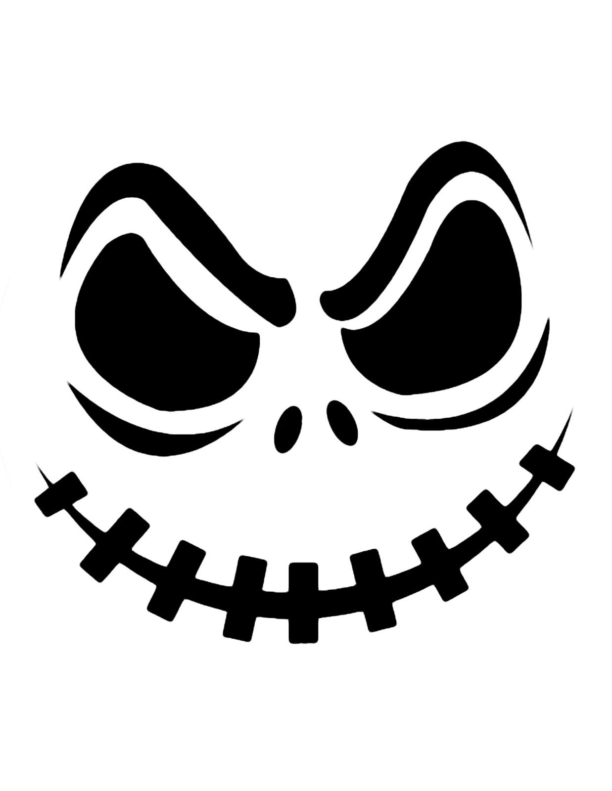 Top printable scary face pumpkin carving pattern design stencils ...