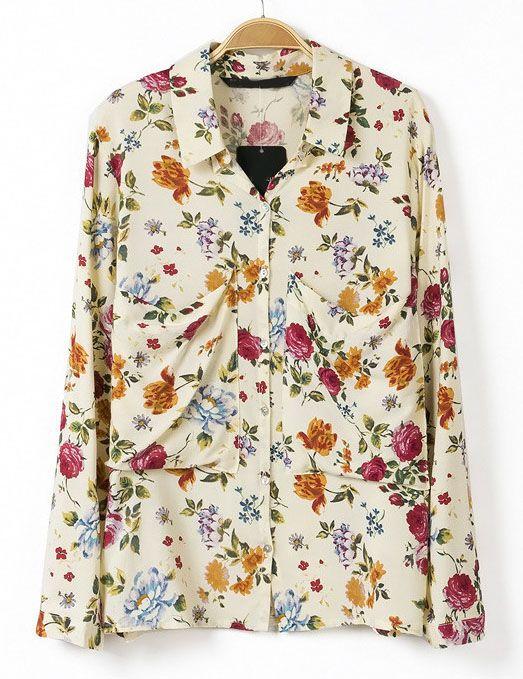 4b53a5a3c4bfa ***Apricot Lapel Long Sleeve Floral Pockets Blouse - Sheinside.com*