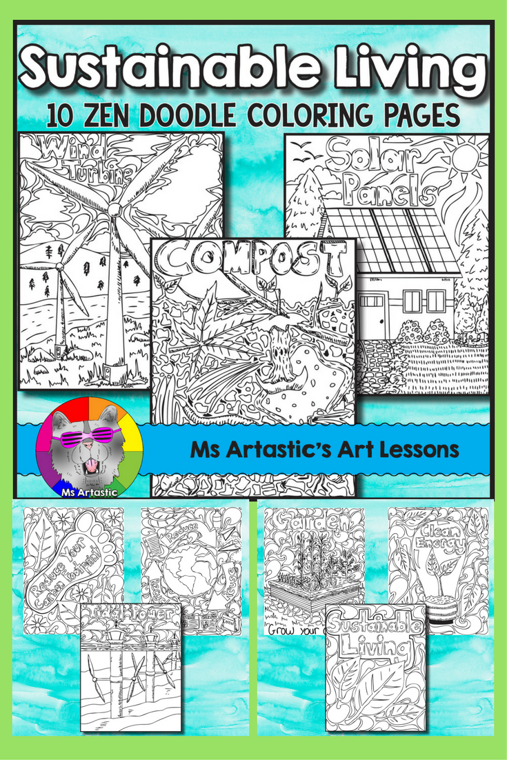 Earth Day Coloring Pages Sustainable Living Zen Doodles
