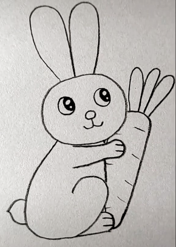 Rabbit Drawing Easy Animales Faciles De Dibujar Dibujos Bonitos Dibujos Faciles