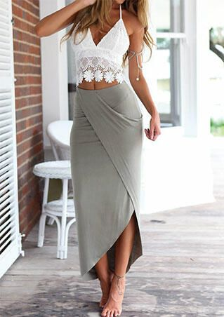 Lace Camisole + Long Skirt Outfit