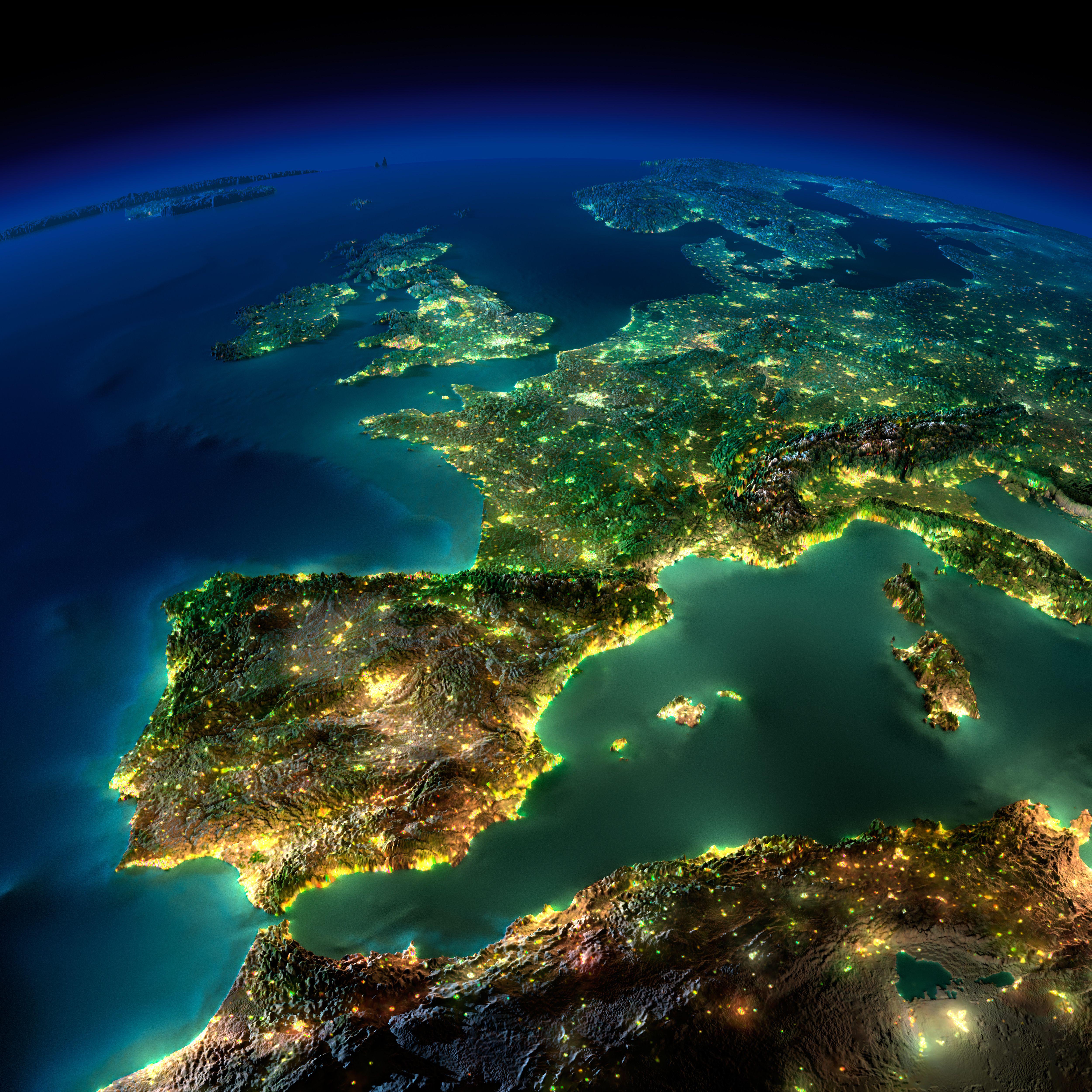 Satellite Images Europe Szukaj W Google Stream Pinterest - Satellite map of the world at night
