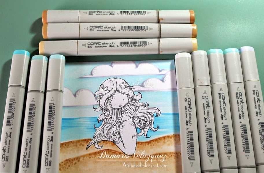Beach Coloring. Copic Coloring. Copic Beach. Copic Sand. Copic Sky. Copic Markers. Copic Clouds.