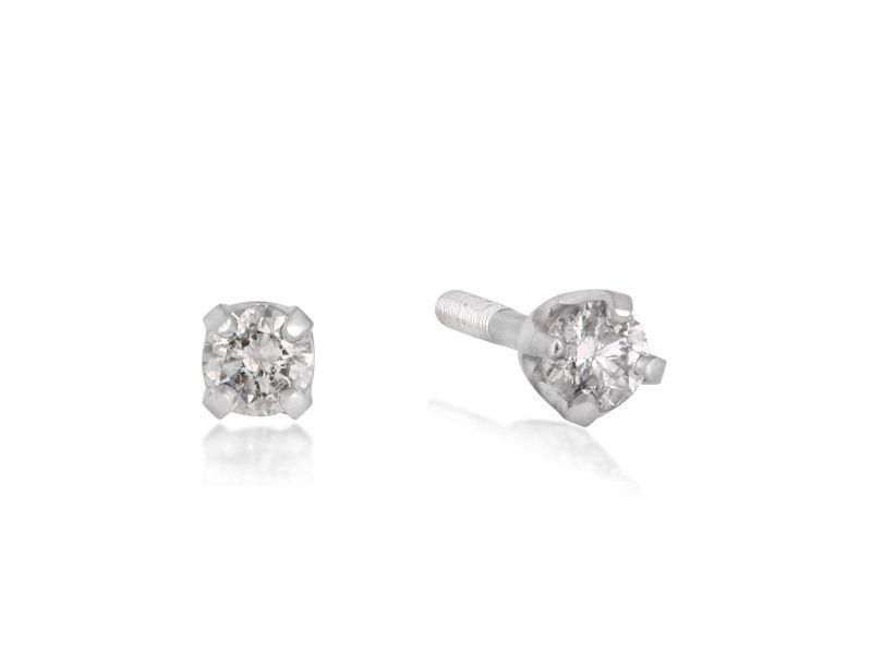 Infant Diamond Stud Earrings In 14k White Gold