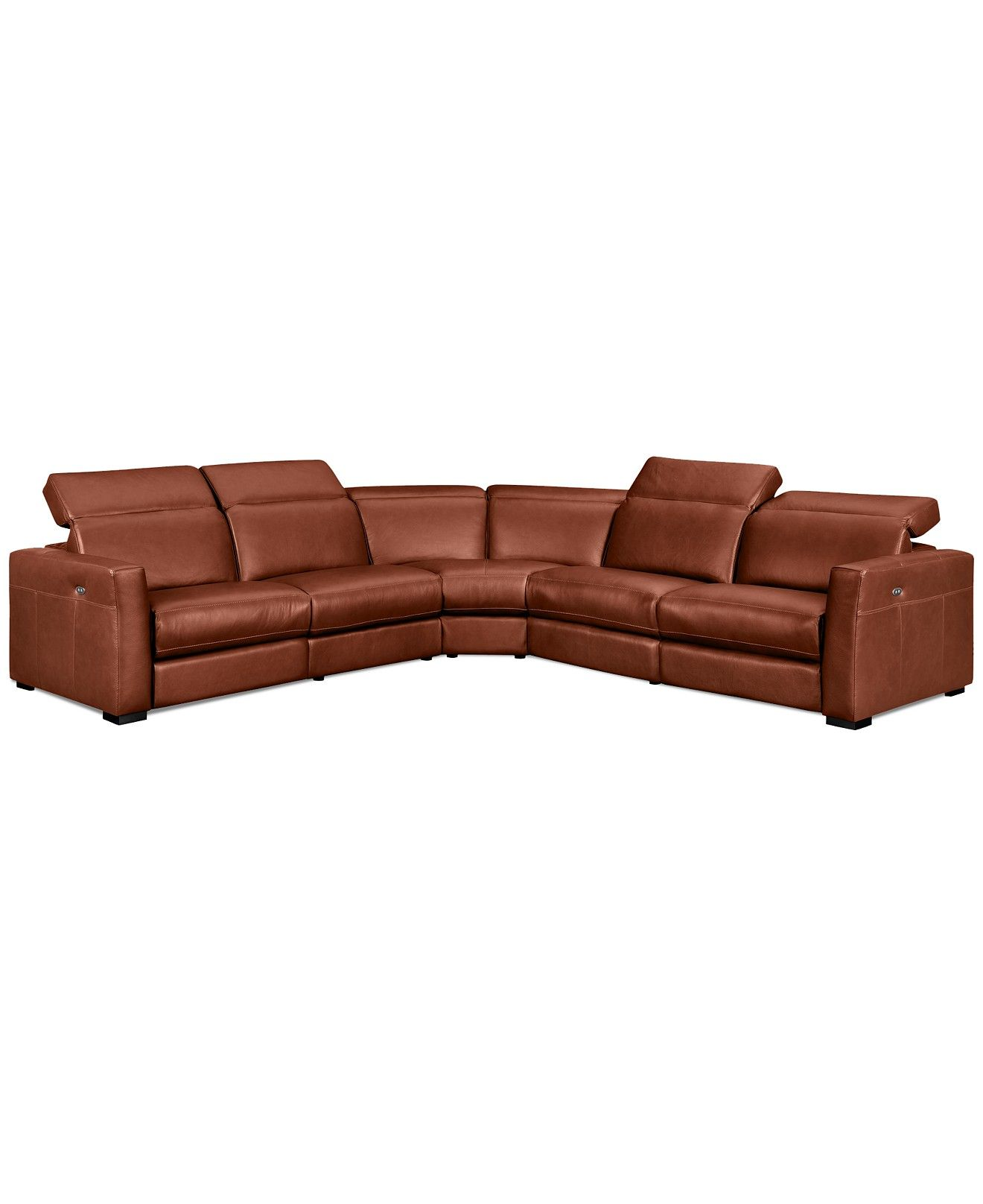 Nicolo 5-Piece Leather Reclining Sectional Sofa with 3 Powered ...