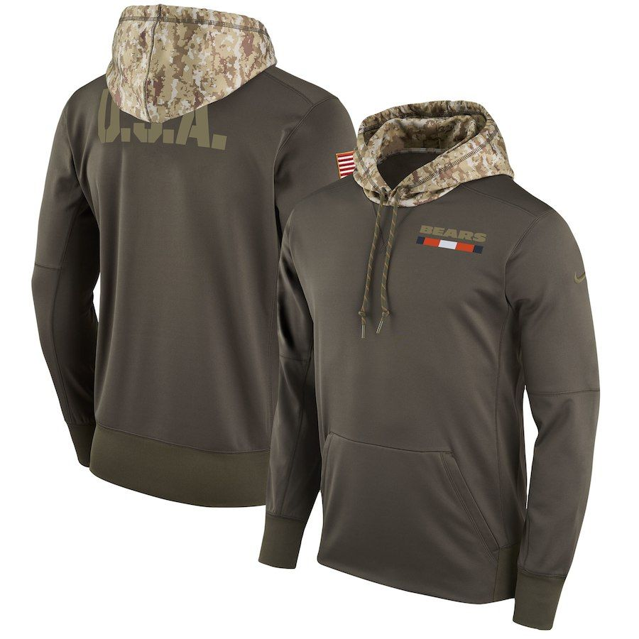 5d80aaf27 Men s Chicago Bears Nike Olive Salute to Service Sideline Therma Pullover  Hoodie