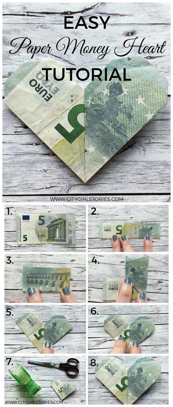 Easy Paper Money Heart Folding Tutorial - #Easy #fabriquer #Folding #Heart #Money #Paper #Tutorial