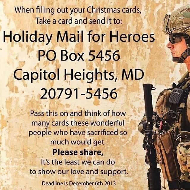 Holiday mail for heroes support our troops cards for gis