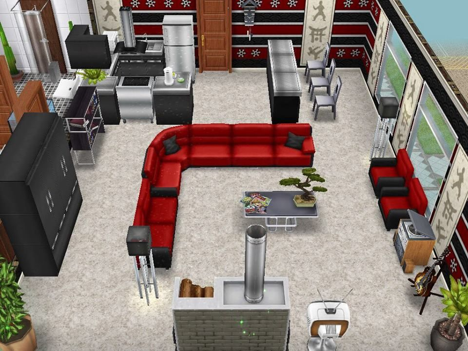 Sims Freepay An Idea Or An Asian Inspired Kitchen And Living Room Sims Freeplay Houses Sims House Sims Free Play