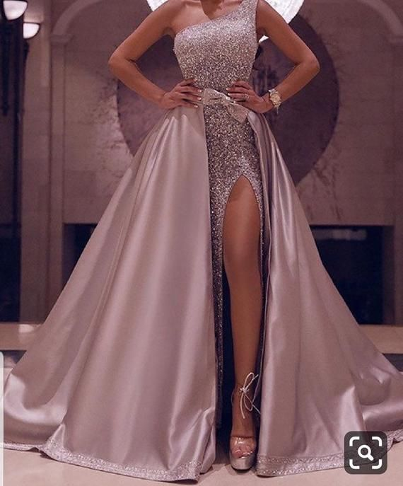 Sequins prom dress with detachable cape,prom gowns