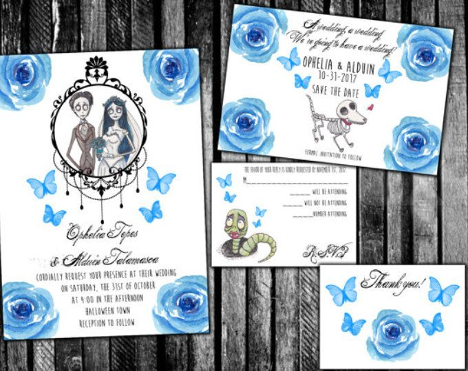 corpse bride blue roses wedding invitations save the date rsvp and ...