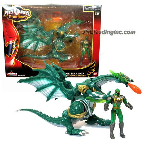 Bandai Year 2006 Power Rangers Mystic Force Series 13 Inch Long Dragon Figure Set - GREEN XTREME DRAGON with Flame Missile Plus Green Power Ranger