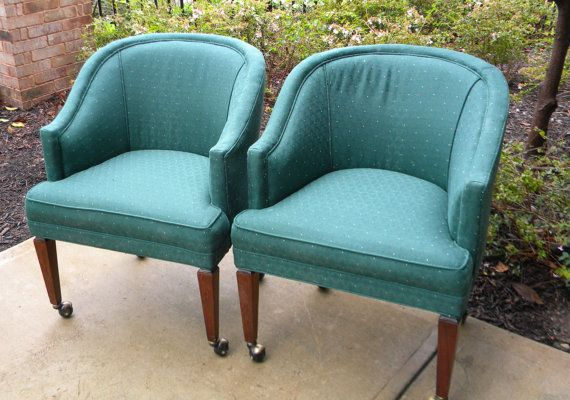 Pair Of Midcentury Barrel Chairs On Casters In By