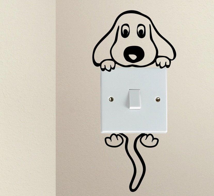 Cute Dog Cartoon Doggy Puppy Baby Pet Light Switch Funny Vinyl Love Heart Decor Funny Wall Art Decal Stickers Ba Decal Wall Art Funny Wall Art Cute Dog Cartoon