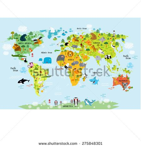 Vector map of the world with animals hetty astri pinterest vector map of the world with animals gumiabroncs Choice Image