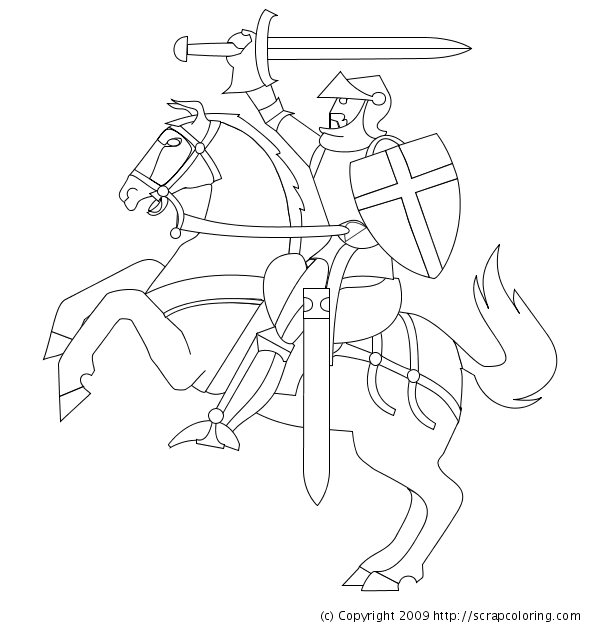 knight horse coloring pages - Knight Coloring Pages