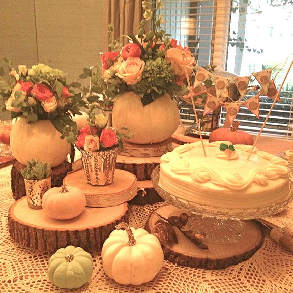Fall Bridal Shower Centerpiece Using Painted Pumpkins With Gold